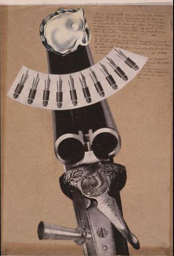 Collage, tinta sobre papel. Colección André Coyné. Lefort, D. & Villegas, F. (2018). César Moro. Obra Plástica. Lima: Academia Peruana de la Lengua.