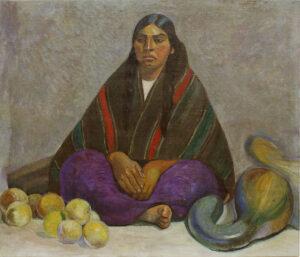 Julia Codesido. Vendedora ayacuchana. ca. 1927. Óleo sobre tela. 95 x 110 cm. Museo de Arte de Lima. Comité de Formación de Colecciones 2017. Archivo Digital de Arte Peruano.