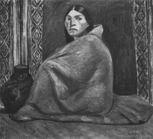 Julia Codesido. Tapicera India. Fuente: Mariátegui, José Carlos (1928). [Arte peruano: Julia Codesido]. Amauta, 3(11), p. 9. Archivo José Carlos Mariátegui.